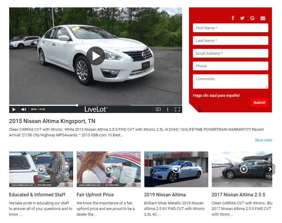 LiveLot® video landing page